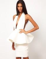 2015 Luxury Sexy Halter Ruffles Peplum Backless White Bandage Dress Evening Dress Size S,M,L,XL