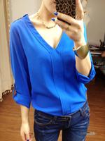 Fashion new 2014 V-neck gold rivet epaulette casual loose chiffon shirt women blouses blusas sheer shirts blusas femininas