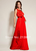 2014 New fashion maternity evening dress back V-neck sleeveless lace full dress 3 colors long design bride maternity gown sexy