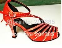 Cheap New Woman Red Satin Rhinestone Latin Ballroom Salsa Ceroc Dance Shoes Size US4,4.5,5,5.5,6,6.5,7,7.5,8,8.5,9,9.5,10