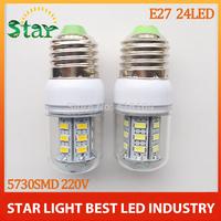 free shipping 10pcs/lot New arrival SMD 5730 E27 9w led corn bulb lamp 24LED Warm white /white led lighting FREE SHIPPING
