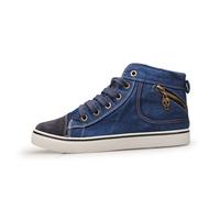 2014 Free shipping 2013 high denim shoes male shoes zipper platform shoes Men casual shoes blue