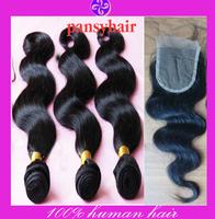 4pcs Lot Brazilian Virgin Hair Free Part Lace Closure With 3pcs Hair Bundles Unprocessed Human Virgin Hair Extension Body Wave