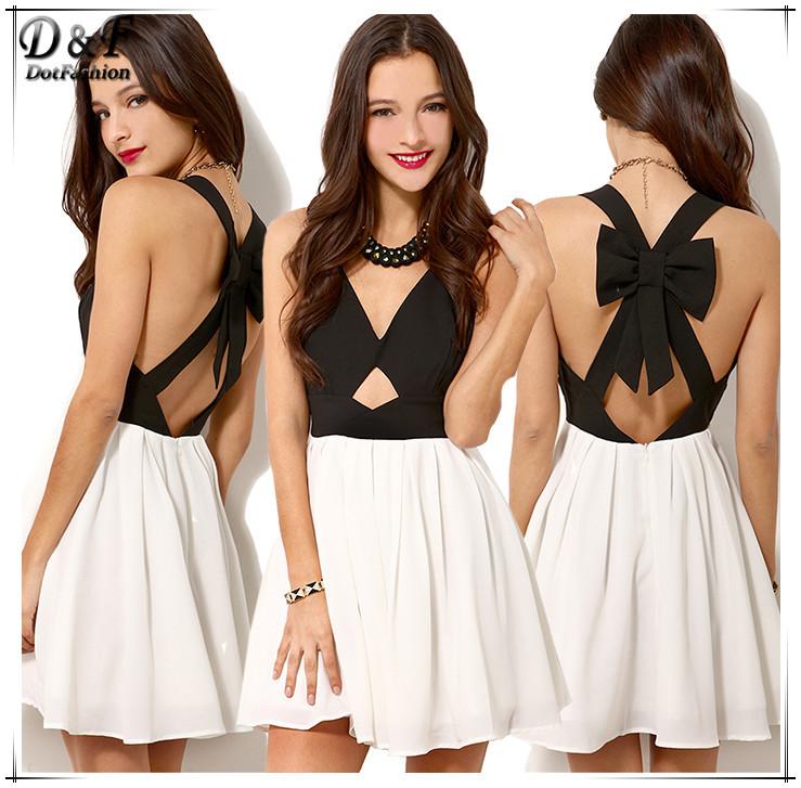 2014 neue Sommerfest kleid mode frauen sexy vintage schwarz weiß Criss cross zurück aushöhlen bowknot plissierte chiffon-kleid
