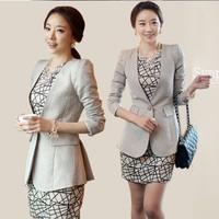 2014 Rushed New High Quality Professional Set 2 Pieces Suit Work Wear Clothing Female Slim Blazer Women's Medium-long Thin Ol