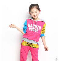 free shipping Children's clothing spring 2014 child sportswear female set color block decoration casual kids clothes
