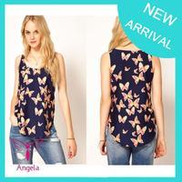 Hot sale 2014 summer women t-shirt butterfly chiffon shirt round neck sleeveless camisole high quality TS-002