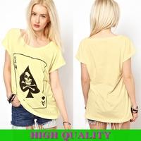 2014 New Summer Ladies' Short Sleeve O-Neck Print Skull Spades A Girl T-Shirt Woman Top Shirt Blouse in Stock XXXL