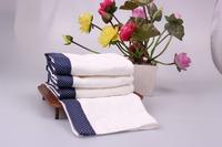 New Arrival 3pcs/Lot  100%  Cotton White Face Towel  With Blue Border 34*75CM  100g