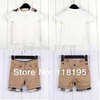 Hot sale baby&boys girls clothing set Uk design brand kids girl o-neck t-shirt+shorts sets children's tops+trousers summer cloth