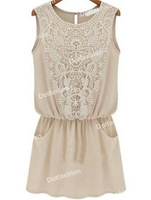 2014 Summer New Style Women's Fashion Casual Apricot Sleeveless Lace Slim Chiffon Dress