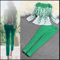 Free Shipping 2014 fashion women's lace patchwork print chiffon blouse and pencil pants twintset