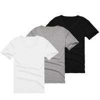 Men Tshirt brands Cheap High Quality  White Black Gray 2014 summer new  V-neck male short-sleeve 100% cotton solid basic