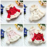 Retail Baby girls coat fur collar outwear kids CORAL FLEECE jacket outwear children coat 2014 new