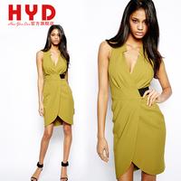 2014 Brand New haoyouduo spring and summer V-neck slim waist one-piece dress female step Knee-Length Dress