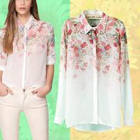 2014 new fashion flower print long sleeve chiffon women blouse laple spring female shirt chifon blusas estampada