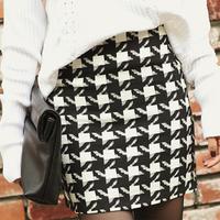 Pencil Skirt 2015 Women Winter Autumn Fashion Plus Size S-XXL Vintage Plaid Geometric Mini Short Slim Hip Wool High Waist Skirts