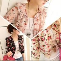 2014 New Fashion Flower Printed Women Jackets Coats/Chiffon Short Jackets For Women/Casual Brand Women Coats