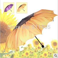 Top Quality sun protection Daisy Sunflower  umbrella three-folding  sunny and rainy amphibious umbrella uv beach gift umbrella