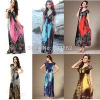 2014 new summer beach dress leopard dress bohemian mopping large size ice silk dress