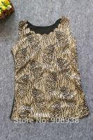 Summer 2014 scalloped bling China plum blossom embroidery elastic gauze black basic all-match vest Tops female,Free Shipping