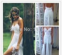 2014 New Lace Beach Long wedding dress Appliques Sweetheart Backless Chiffon Bridal Gowns vestido de noiva Custom-made W D00212