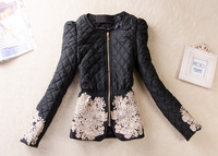 New 2014 Spring Women Clothing Top Perfect Design British Style Plaid Quilting Wadded Jacket winter Coat women jackets
