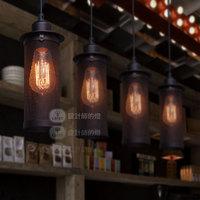 Rh loft single-head balcony bar lamp loft metal net pendant light or including ST64 Edison bulb