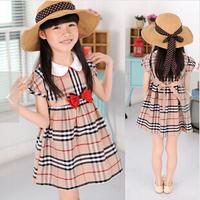 children kids girls summer  2014 plaid dress doll baby girl  British style Doll collar dress for age 3-8