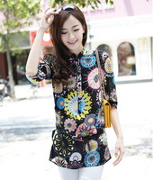 New 2014 spring and summer fashion mid-sleeves chiffon flower printing shirt women blouse casual blouse