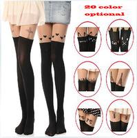 New 2014 spring Sexy women tight fashion ladies' Silk pantyhose high street shaper hose black half tight brand tattoo stockings