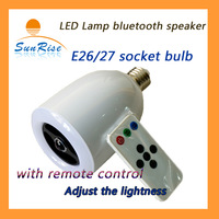 Free shipping LED lamp bluetooth speaker with remote control the brightness & music volume used in living room /bedroom