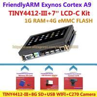 FriendlyARM Cortex A9 KIT Standard TINY4412 III + 7 inch LCD + 8G SD + USB WIFI + C270 Camera , 1G RAM 4G eMMC , Android 4.2