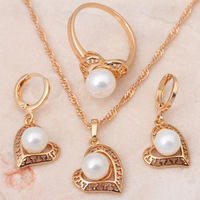 Heart design 18K Gold Plated Multicolor Pearl Jewelry Sets Earrings Necklace Ring SZ #5.75 #9 Fashion Jewelry JS146