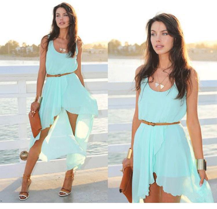 New 2014 Ladies Long Chiffon Sexy Dress Green Summer Casual Brand