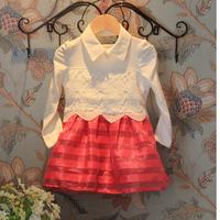 2T-8 full/long sleeve lace tutu dress for children girl kids wedding party dresses baby girls evening dance dresses pink infant