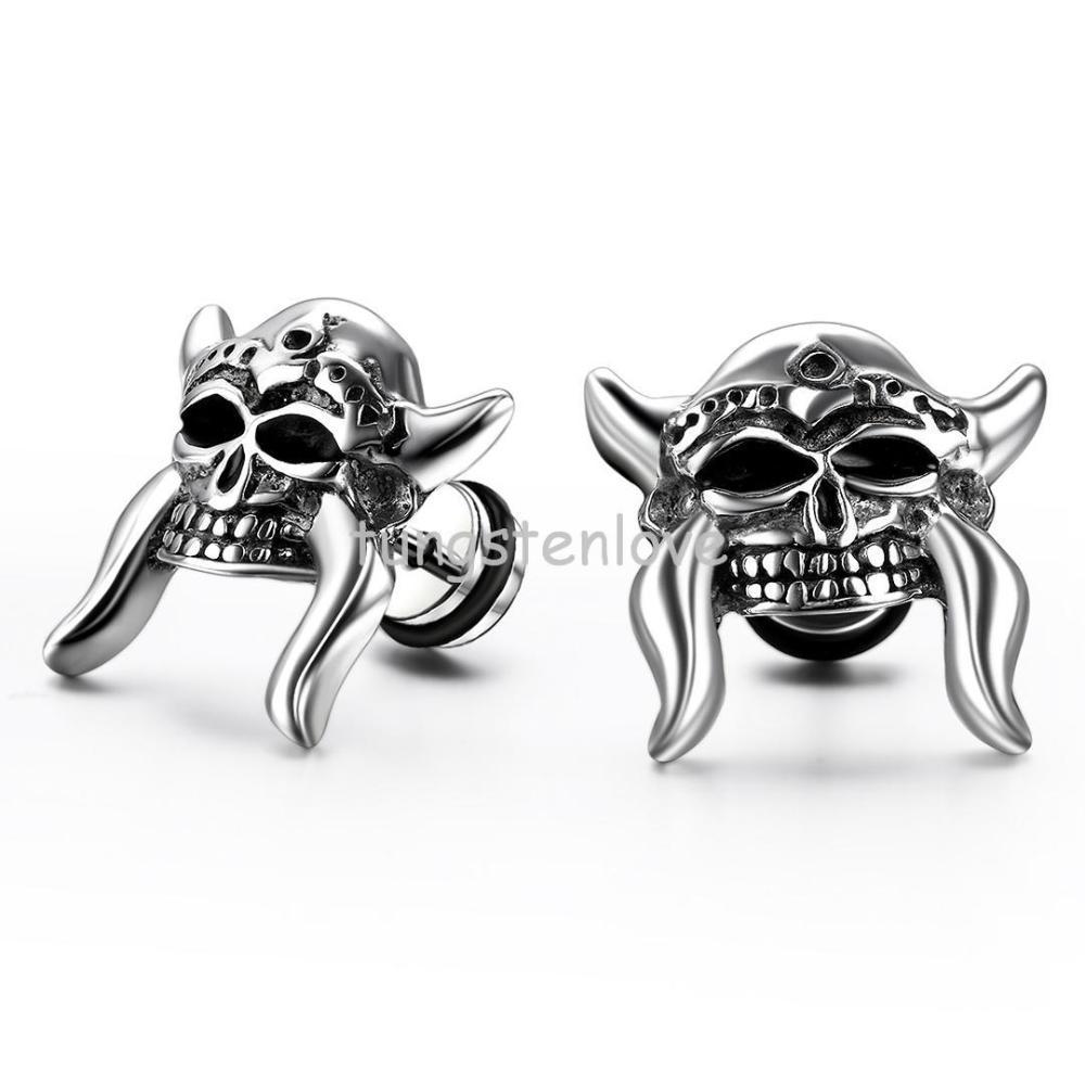 Skull Mens Stud Earrings