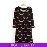 New Spring 2015 Half Sleeve Summer Mini Casual Dress Women O Neck Animal Fox Printed Cotton Dresses Fashion Girl Dress in Stock