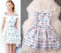 Fashion desigenr print women's 2014 fresh spaghetti strap slit neckline patchwork sleeveless elegant one-piece short dress