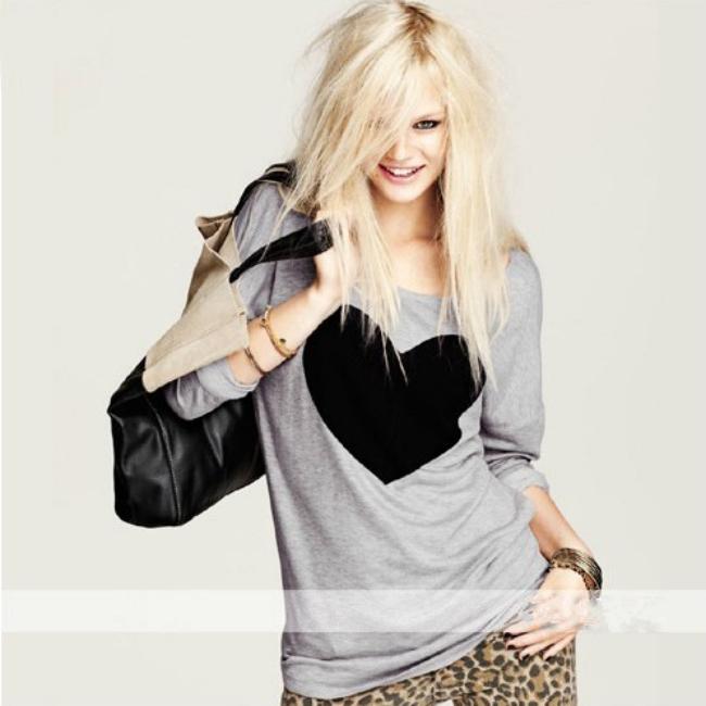 В черный жемчуг женщины тема влюбленность в форме сердца T рубашка тис - рубашки длинный рукав женщины в печать футболки
