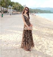 Dropshipping!2014 summer long dress casual chifon beach dress elegant plus size slim waist  leopard dress bohemian dress