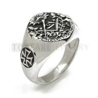 Topearl Jewelry 3pcs 316 Stainless Steel Masonic Skull Maltese Cross Ring MER05-03
