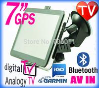 7 inch HD portable car gps Nuvi navigation tv with Analogy / digital tv Bluetooth Av-in Fm 4GB free Map navegadores gps com tv