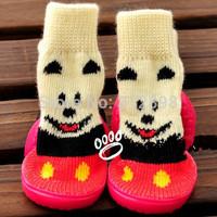 Cute Yellow Bear 4pcs/set Pet Dog Cat Foot Wear  Shoes socks