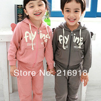 Child set 2014 spring and autumn children's clothing male female child cartoon three-dimensional wings casual twinset