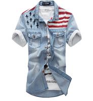 New in 2014 men's jeans shirts men casual short sleeve shirts M L XL XXL XXXL XXXXL free shipping