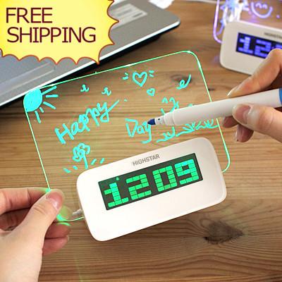 Handwriting Message Board Clock Neon Snooze Alarm Clock Birthday Present For