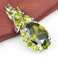 2014 hot sale 925 sterling silver  jewelry for women flower shape crystal Pendants lovers' gift