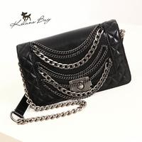 brand designer chain bag PU  fashion brand Quilted classic retro punk rock style chain handbag Shoulder Messenger free shipping