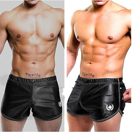 2pcs mens sexy running sports shorts tight tennis pants suits boxer shorts gym gay wear silk penis home beach basketball man(China (Mainland))